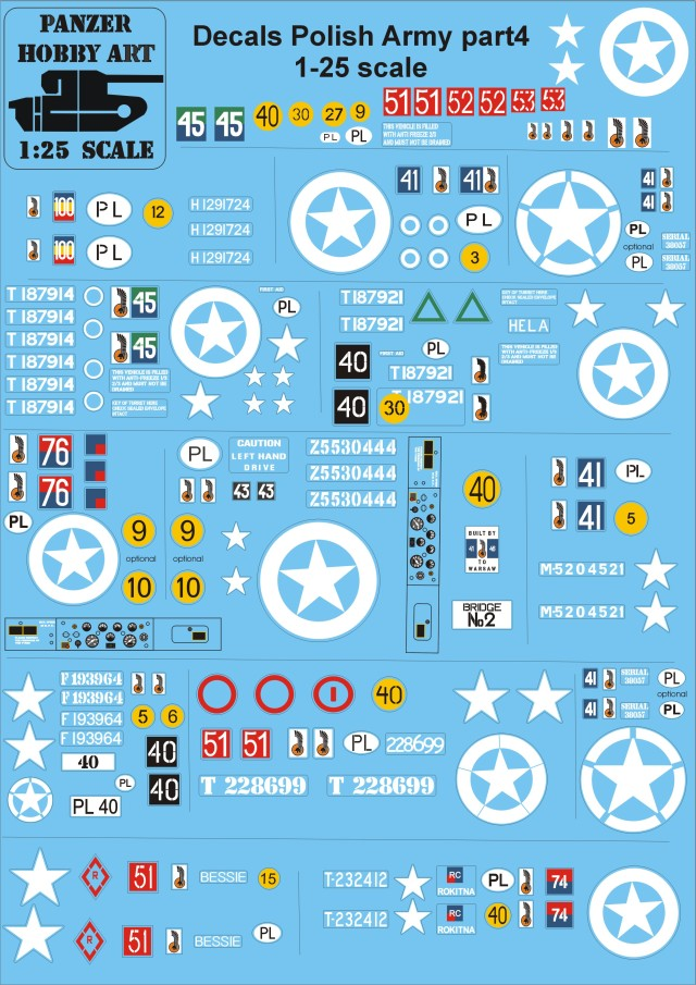 Decals Polish Army part 4 1-25 scale