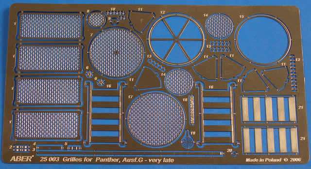 25003 Grilles for   Panther G late version(Sd.kfz.171)